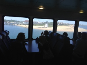 Looking out the ferry at Brant Point Lighthouse. One of the best views ever because you are so close!