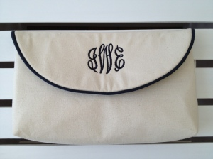 The Classic Clutch in Sand Cotton Canvas with Navy Monogram