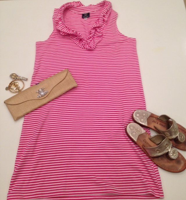 Cocktails & Dinner: Skipper Dress in Pink Stripe with Eliza Gray Clutch and Jack Rogers sandals
