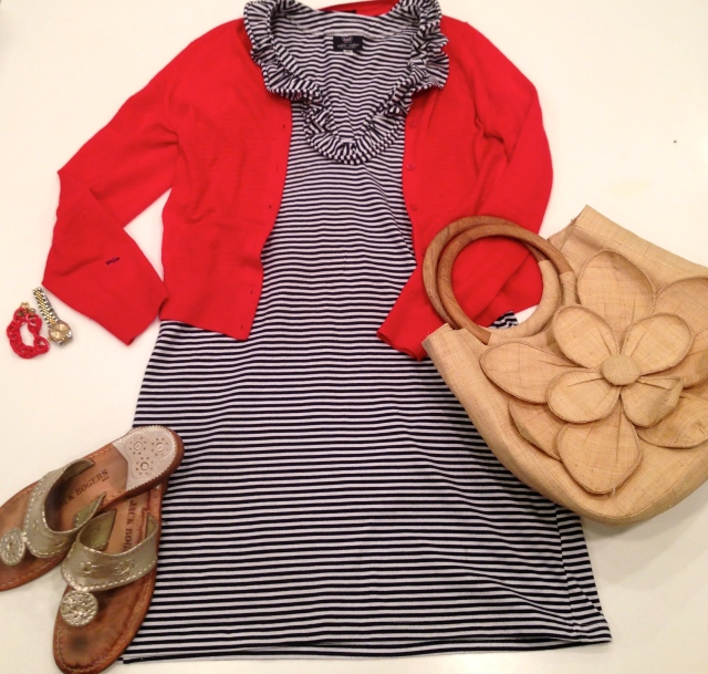 Out & About: Skipper Dress in Navy Stripe with red cardigan sweater - here for similar; Mar Y Sol tote; Jack Rogers sandals; red bracelet - click here for similar