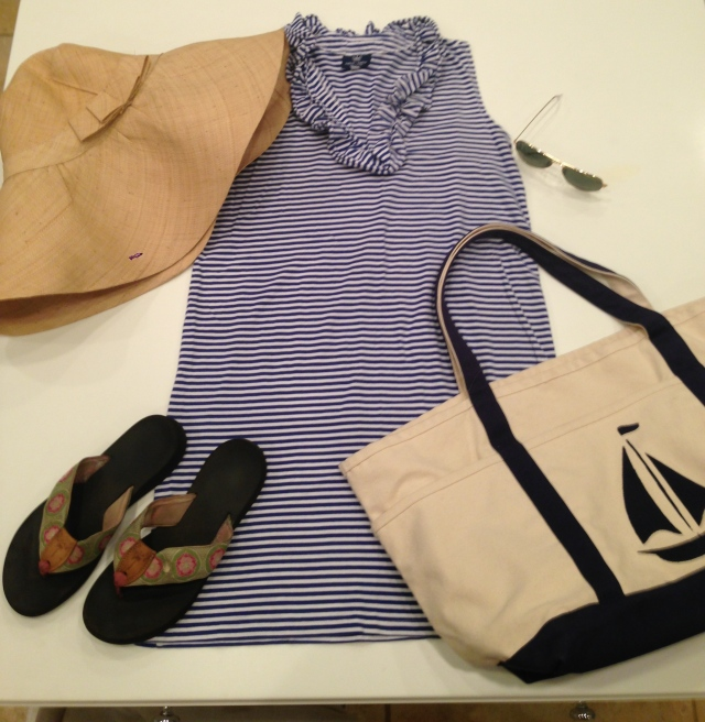 A Day at the Beach: Skipper Dress with Crushable Hat by Be You Fashion from Kayce Hughes; Eliza B flip flops; beach bag - here for similar; and Ray Ban Aviator sunglasses