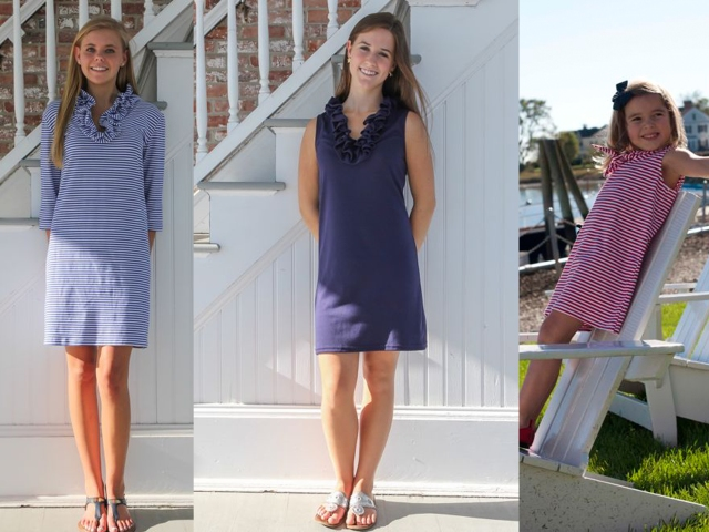 All images via Just Madras. Left to Right: Skipper dress in 3/4 length sleeves; Skipper Dress is Navy Blue; Girls Sailor Dress in Small Red Stripe