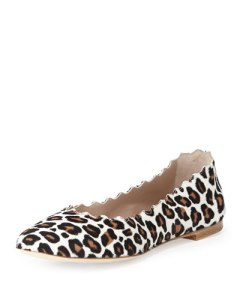 Chloe Scalloped Leopard-Print Calf Hair Ballerina Flat